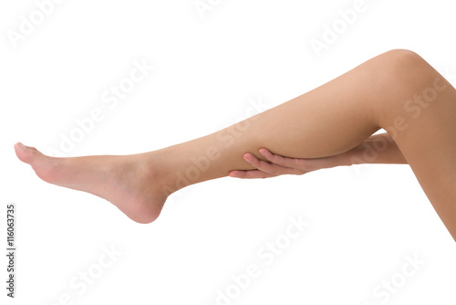 Asian women holding her calf with massaging in pain area, Isolated on white background Poster