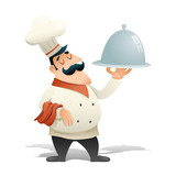Happy Smiling Male Chief Cook Serving Dish Symbol Food Icon Isolated Retro Vintage Cartoon Design Vector Illustration