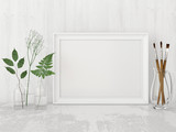 Fototapety Horizontal interior poster mock up with empty frame, artistic brushes and plants in bottles on white wall background. 3D rendering.