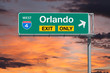Orlando Florida Exit Only Freeway Sign with Sunrise Sky