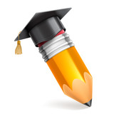Pencil and Graduation Cap Icon