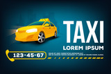 Fototapety Taxi service car poster banner