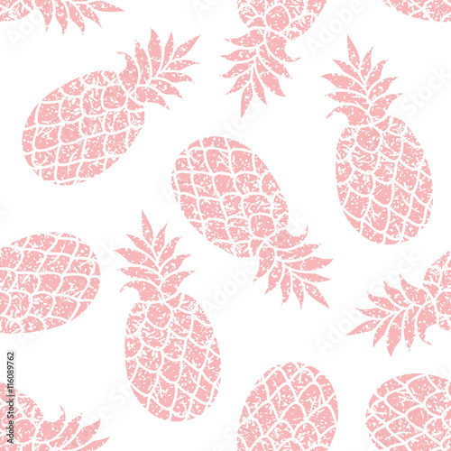 Tapeta Pineapple vector seamless pattern for textile, scrapbooking or wrapping paper. Pineapple silhouette repeating ornament.