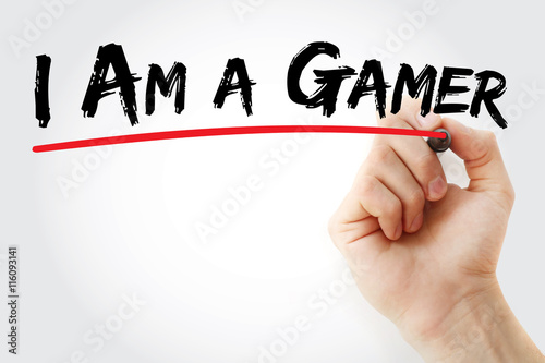 Poster Hand writing I Am a Gamer with marker, concept background