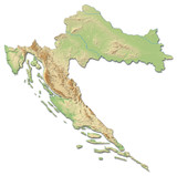 Relief map of Croatia - 3D-Rendering