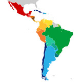 Colorful countries of Latin America. Simplified vector map. - 116105753