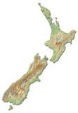 Relief map of New Zealand - 3D-Rendering