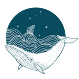 Whale under water tattoo art whale in the sea graphic style
