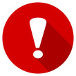 Flat design red round warning vector icon