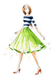 Watercolor fashion illustration, hand painted - 116108586