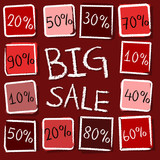 big sale and percentages in squares - retro red label, vector
