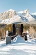 bridge over a frozen river, canmore, banff, national park, alberta, canada