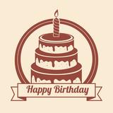 happy birthday cake isolated icon design, vector illustration  graphic
