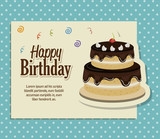 happy birthday cake isolated icon design, vector illustration  graphic