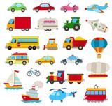 Fototapety set of cartoon cars, vehicles, other transportation on white