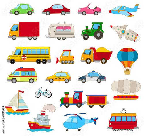 Naklejka set of cartoon cars, vehicles, other transportation on white
