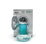 Fototapety Concept of washing. Broken washing machine. The waterfall follow