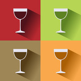 Wine glass icon with shadow on colored backgrounds