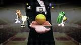 Businesswoman open palm, Around basketball icon, court, goalpost.