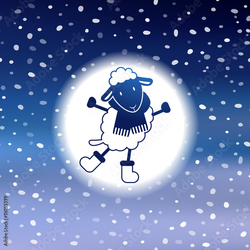 Cute Christmas card with sheep, snow on blurred vector background