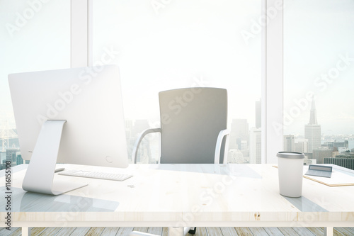 Desktop in office interior плакат