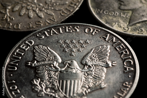 Poster United States silver dollars with eagle