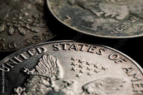 Poster US silver dollars closeup macro shot
