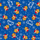 Seamless Christmas Reindeer with Santa hat background pattern tiling texture