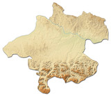 Relief map - Upper Austria (Austria) - 3D-Rendering