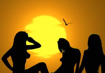 Mujeres en la playa, siluetas, verano, sol