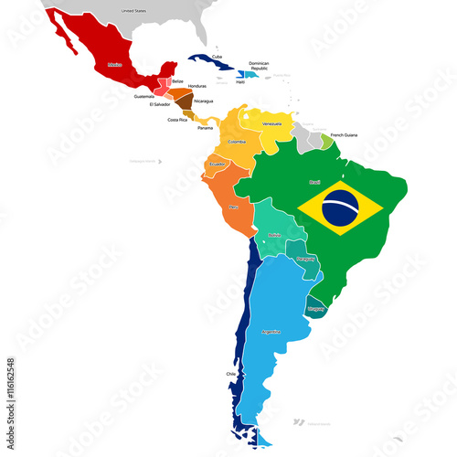 Countries of Latin America with names Poster