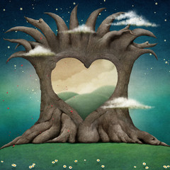 Background for illustration  large tree with  hole in shape of  heart