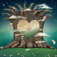 Conceptual illustration  large tree with  hole in shape of  heart