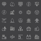 Power and energy outline icons
