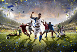 Collage adult children soccer players in action on stadium panorama - 116173104