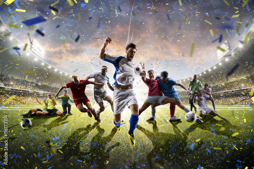 Collage adult children soccer players in action on stadium panorama Poster
