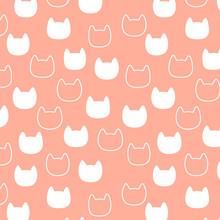 Wzór z głowy kot sylwetka na różowym tle