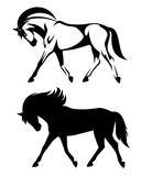 running horse side view outline and silhouette