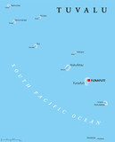 Tuvalu political map with capital Funafuti and important villages. Formerly known as the Ellice Islands, a Polynesian island nation in the Pacific Ocean, comprises reefs and atolls. English labeling. - 116185956