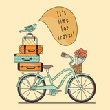 Retro bicycle with luggage