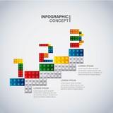 Geometric puzzle icon. Infographic design. Vector graphic