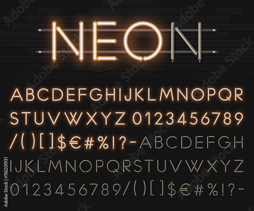 Realistic neon alphabet on a background of black brick wall. Bright glowing font. Vector format - 116201931
