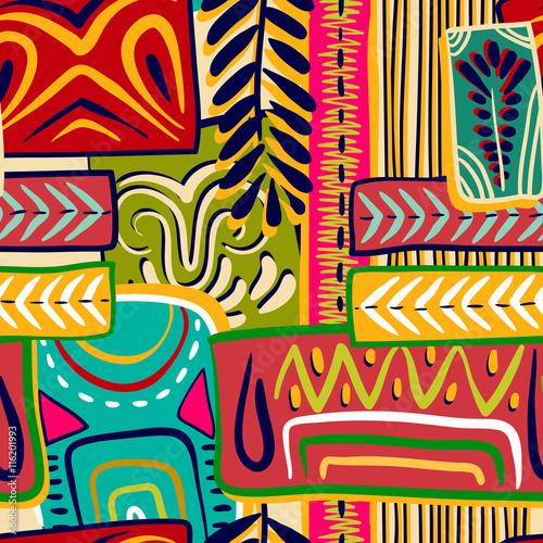 Cotton fabric Colorful decorative pattern. Ethnic background