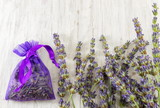Lavender branches and dried flower in bag