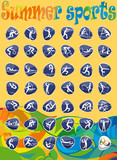Vector set of sport icons for Brazilian Summer Games 2016 in chrome rings isolated on colorful background. event played in Rio de Janeiro, Brazil.Web buttons collection. Graphic elements clip art