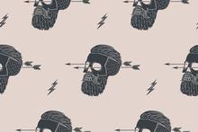Jednolite tło wzór z rocznika czaszki hipster ze strzałką. Projekt graficzny do owijania papieru i tkaniny tekstury koszuli. Ilustracja wektorowa