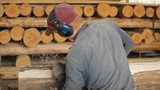 Male wood handles electric planers for future home. Work makes wooden house