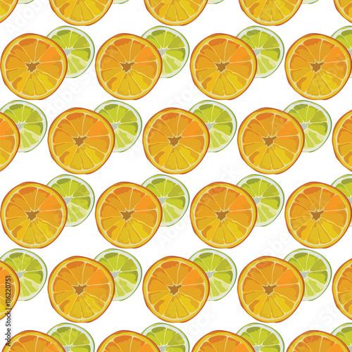Fototapeta Orange and Lime fresh slices Vector pattern. Vector summer fruits slices pattern background