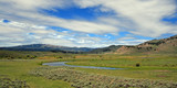 View of Slough Creek in the Lamar Valley of Yellowstone National Park USA