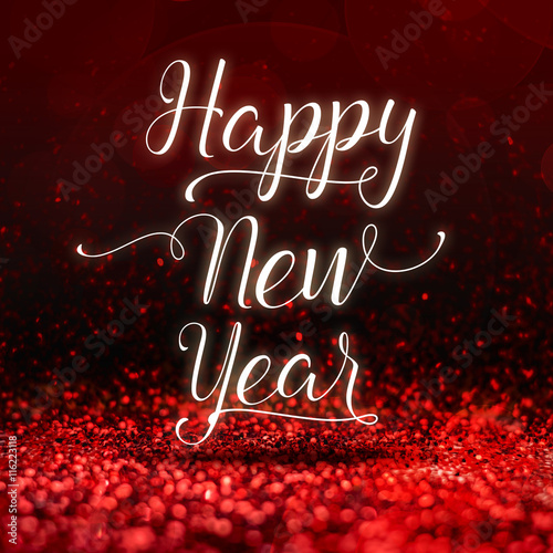 Billede Happy New Year word at red sparkling glitter perspective backgro